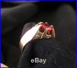 10K Gold Victorian Ring w Semi Precious Stone Sz. 8-1/2 (897)