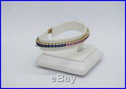 10k Yellow Gold Ladies Tennis Bracelet with Multi Color Semi Precious Stones