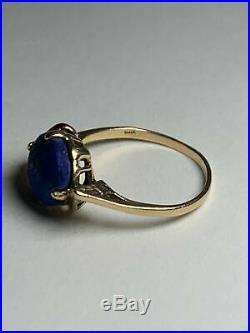 10k Yellow Gold Unpolished Blue Black Lapis Lazuli Semi Precious Stone Ring Sz 8