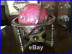 12 Semi Precious Stone Vintage Globe In White Metal Stand