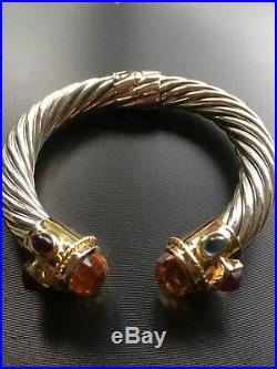 14 Kt Gold and Sterling Silver Semiprecious Stones Cuff Bangle Bracelet