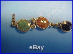 14K Gold Bracelet Cabochon Semi-Precious Stones