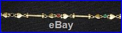 14K Yellow Gold Ladies Heart Link bracelet with Semi-Precious Stone