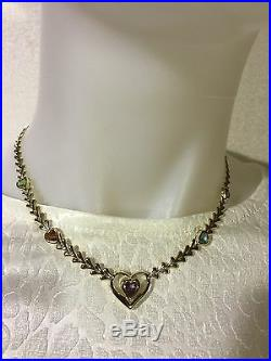 14K Yellow Gold Necklace with Genuine Semi Precious Heart Stones, 16 NEW 12.6g
