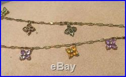 14Kt YG Italian Hand Crafted Semi Precious Floral Stone Charm Necklace