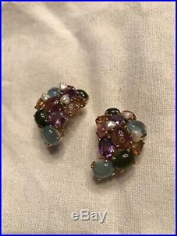 14k Gold Semi Precious Multicolor Stone Earrings Clip On