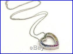 14k White Gold Heart with Rainbow Semi Precious Stones