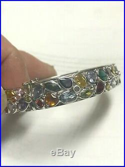 14k White Gold Semi Precious Multi Color Stone Bangle Bracelet