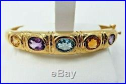 14k Yellow Gold Bracelet With Semi-Precious Stones Vintage