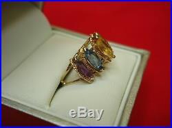 14k Yellow Gold Multi- Color Semi-precious Stone Ring -attractive Marquise Cuts