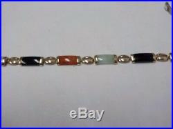 14kt Gold Bracelet Semi Precious Stones- Jade Onyx