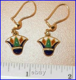18ct yellow gold Egyptian earrings with Lotus Blossom inlaid semi precious stone