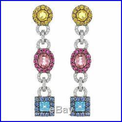 18k White Gold 0.22ctw Semi Precious Colored Stone & Diamond Dangle Earrings