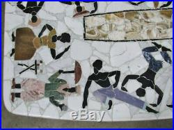 1960's Custom Brazilian Mosaic Coffee Table Marble & Semi-Precious Stone Artist