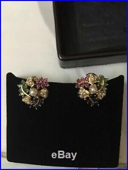 21KT Yellow Gold&Multi Clr Semi-precious Stones Earrings. H-Marked 6.7 Gram India