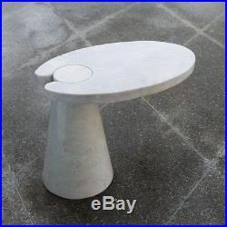 29.5 Cone Cantilever Table White Marble Semiprecious Stone Unique Contemporary