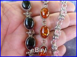 3 Sterling Silver And Semi Precious Stone Link Bracelets, Amber, Onyx & Pink Tor
