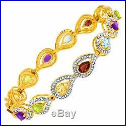 4 7/8 ct Multi Semi-Precious Stone Bracelet with Diamonds 18K Gold-Plated Silver