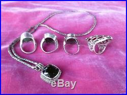 5 Piece Lot Of Modern Stylish Sterling Silver Jewelry With Semi Precious Stones