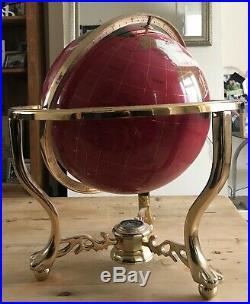 50cm Semi-Precious Stone World Globe on Brass Stand with Compass very rare