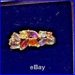 9 Carat Hallmarked (375) Yellow Gold Ring. Size'n'. 13 Semi Precious Stones