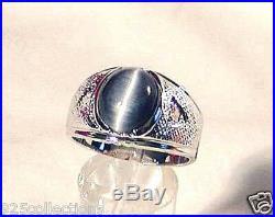 925 Sterling Silver 12x10 mm Gray Blue Semi-Precious Tiger Eye Men Ring Size 13