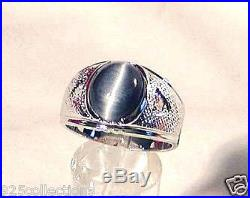 925 Sterling Silver 12x10 mm Gray Blue Semi-Precious Tiger Eye Men Ring Size 8