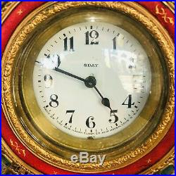 ANTIQUE 1900s New Haven Clock Co. Carved Bronze Semi Precious Stones Clock