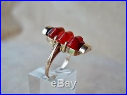 ART DECO CARNELIAN GOLD RING Antique Edwardian Semi-Precious Stone Dress Ring
