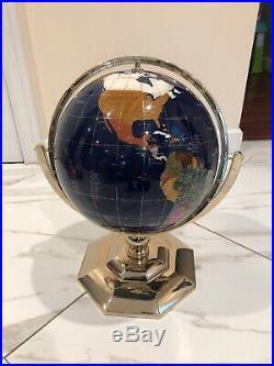 Alexander Kalifano Gemstone Globe World Semi Precious Stone 21 Tall 13 Globe