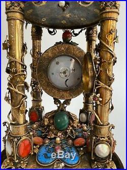 An Austro Hungarian Gilt Silver, Enamel & Semi Precious Stone Table Clock