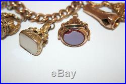 Antique 10 Watch Fobs Bracelet with 9K Gold Chain & Clasp & Semi Precious Stones