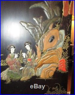 Antique 19thC Chinese Jade Panel Semi Precious Carved Hard stone Geisha Painting