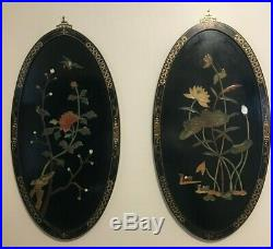 Antique CHINESE Oval WOOD PANEL Inlaid with SEMI PRECIOUS STONES
