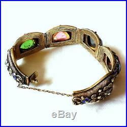 Antique Chinese Silver Vermeil Enamel & Semi-precious Stones Filigree Bracelet