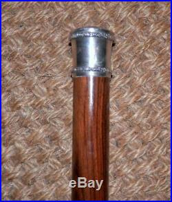 Antique Dark Brown Walnut Walking Stick With Silver & Semi-Precious Stone Top