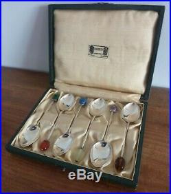 Antique Liberty Of London Silver Teaspoons With Semi Precious Stones