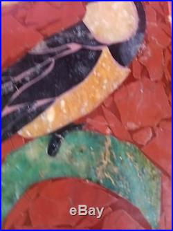 Antique Pietra Dura Mosalite Mosaic Marble/Semiprecious stones Toucan Plaque