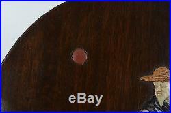 Antique or Vintage Chinese Wood Plaque Inset Semi Precious Stones