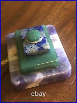 Art Deco Semi Precious Stone Servants Desk Table Bell Antique Push Button Plug