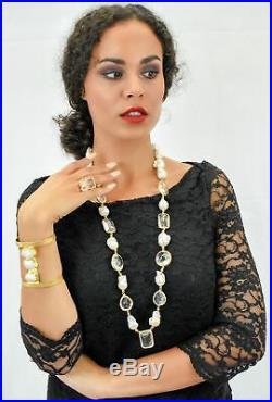 Aylas gold plated semi precious gem stone Baroque Pearl Crystal quartz Necklace