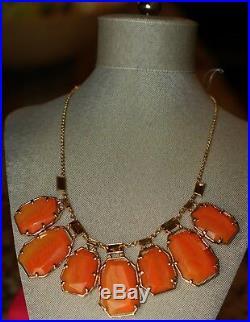 BOLD Kate Spade'SET IN STONE' Semiprecious Statement Bib Necklace Orange Agate