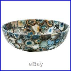 Blue semiprecious stone agate round sink