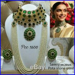 Bollywood Special Semi precious Pota Stone Pearls Jewelry Set with earrings