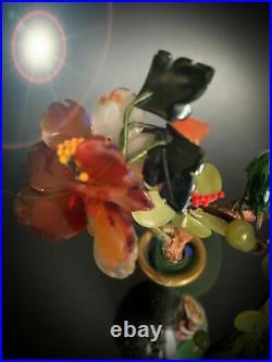 Bonsai Jade Free Semi Precious Stone Enamel Cloisonne Bird Agate Statue Parrot