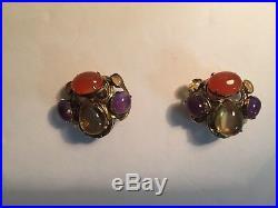 Bounkit Semi Precious Stone Clip Earrings