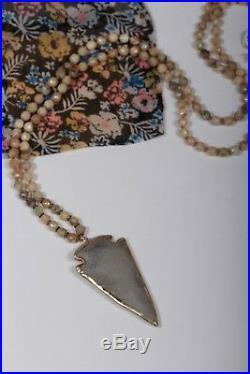 Chan Luu Sterling Silver 35 Semi Precious Stone Necklace w Arrowhead NS-13092