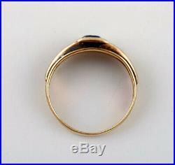 Danish goldsmith. Art deco gold ring with beautiful bluish semi precious stone