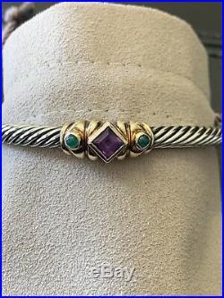 David Yurman Sterling Silver And 14k Gold Bracelet With Semi Precious Stones