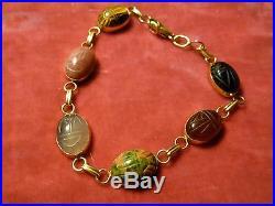 Egyptian Revival Motif 14 Kt Gold And Semi Precious Stone Scarab Bracelet
